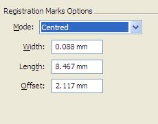 Crop marks measurements
